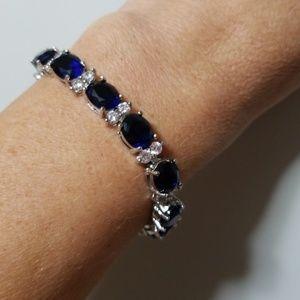 Jewelry - CREATED BLUE & WHITE SAPPHIRE BRACELET